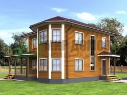 ПД1 Проект 2-х этажного дома из бруса 9х10 м. 182.3 кв.м.