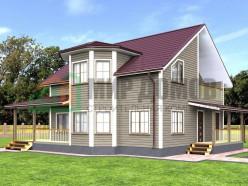 ПД2 Проект 1,5-этажного дома из бруса 10х10.5 м. 210 кв.м.