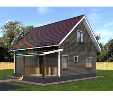 ПД30 Проект 1-этажного дома из бруса с мансардой 8х8.4 м. 122.64 кв.м.