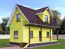 ПД7 Проект 1-этажного дома из бруса с мансардой 6х9 м. 90 кв.м.