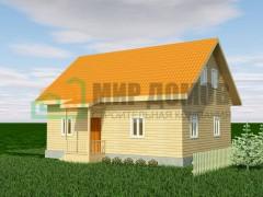 ПД77 Проект 1-этажного дома из бруса с мансардой 10x7 м. 135 кв.м.