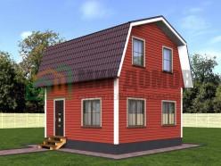 ПД8 Проект 1-этажного дома из бруса с мансардой 6х6 м. 56 кв.м.