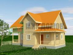 ПД81 Проект 1,5- этажного дома из бруса 10x12 м. 197 кв.м.
